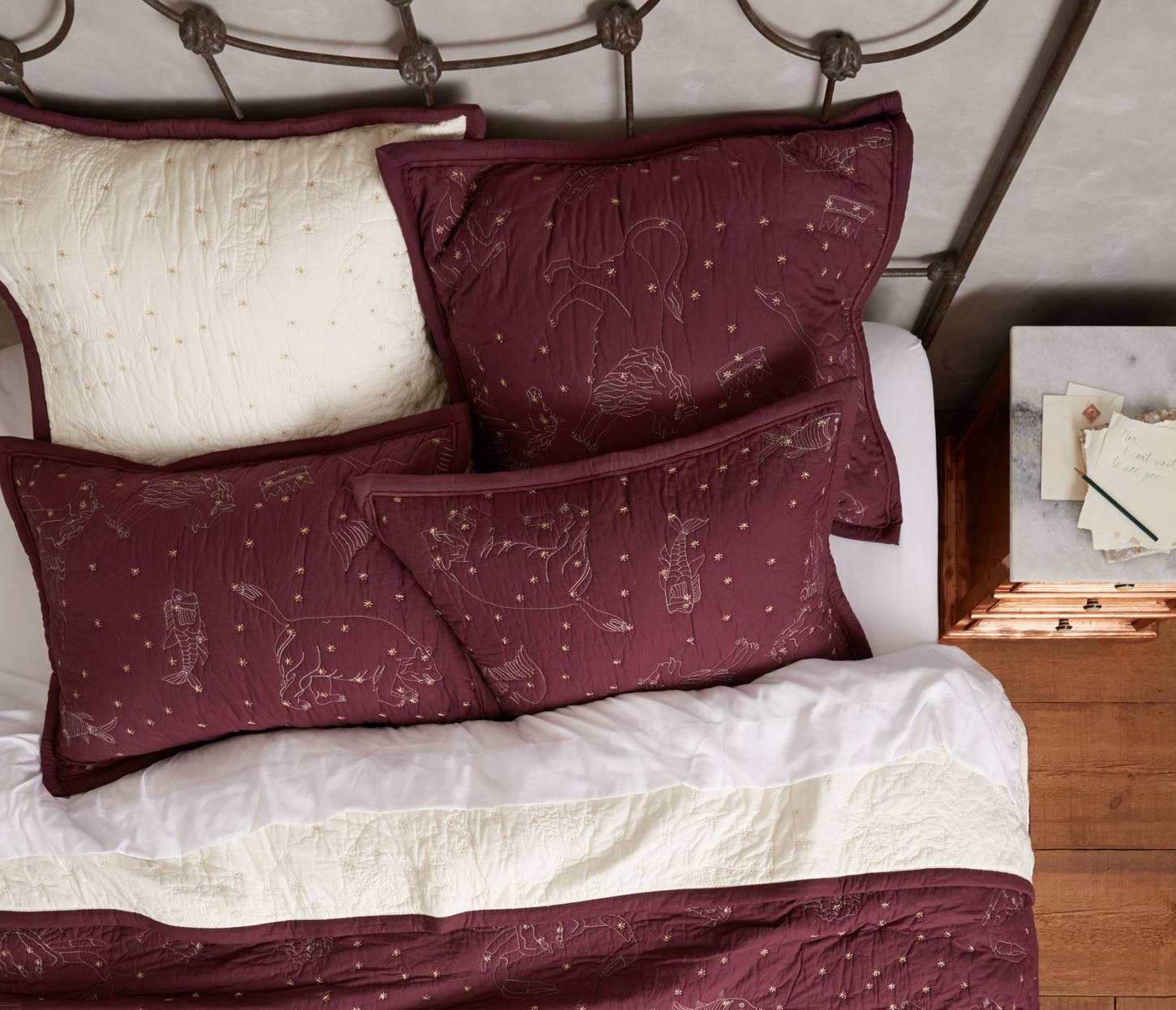 Anthropologie Cosmos Coverlet in Burgundy