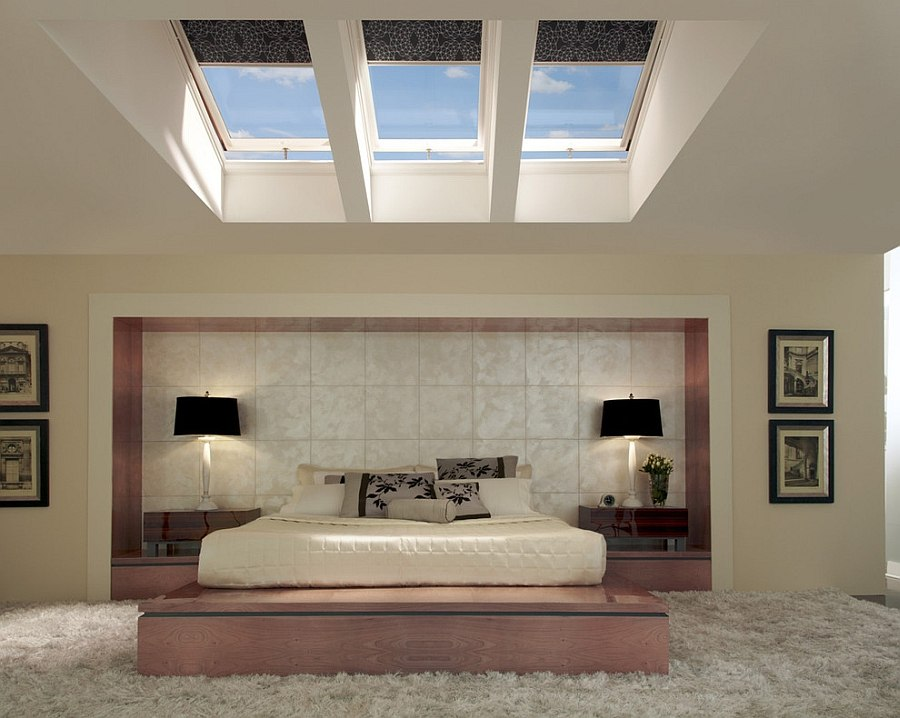 Asian style bedroom with skylights