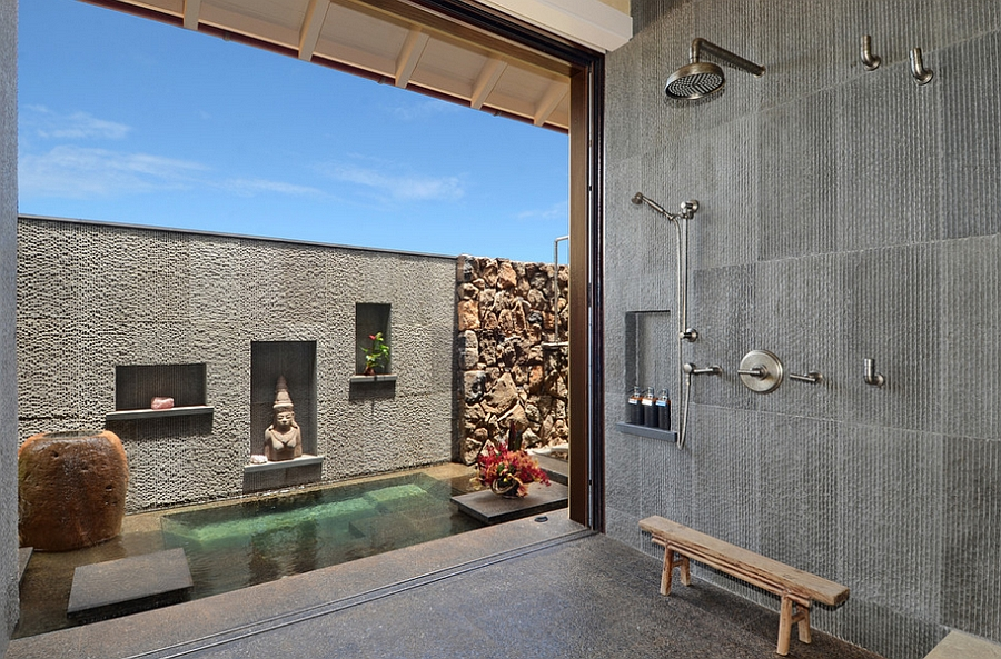 Bathroom with a mix of Asian and Hawaiian styles [Design: Smith Brothers]