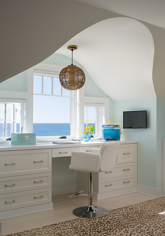 Beach style home office with an ocean view