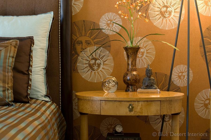 Beautiful Fornasetti Wallpaper for the posh modern bedroom [Design: Blue Desert Interiors]