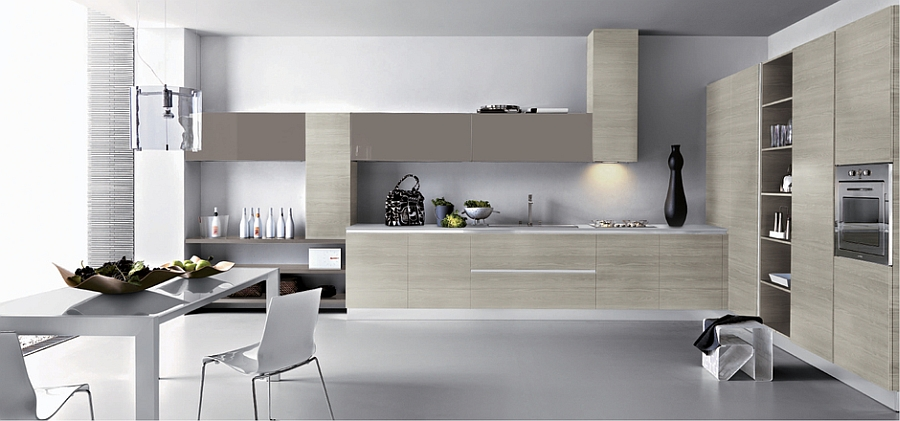 Beautiful kitchen counters and smart shelves save up on space