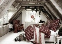Bedding adds to the Christmassy appeal of the bedroom 217x155 10 Gorgeous Bedrooms That Bring Home Festive Charm