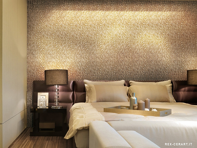 Bedroom accent wall with snazzy penny tiles  From  Ceramiche. 20 Inspirations That Bring Home the Beauty of Penny Tiles