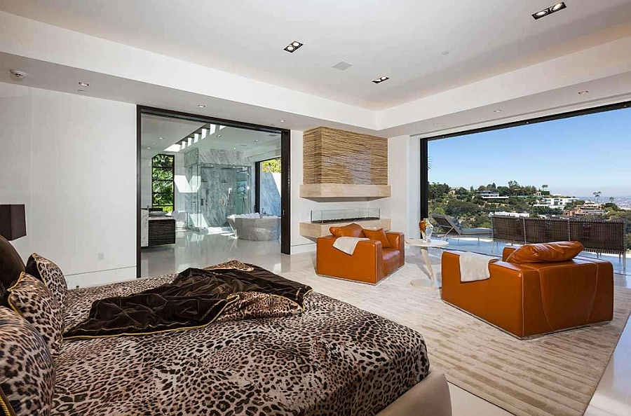 Bedroom with city skyline views