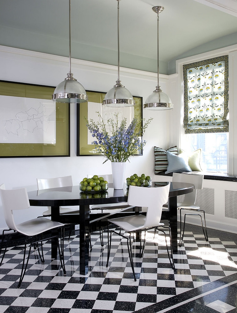 Black and white dining room with stylish pops of green [Design: Jessica Lagrange Interiors]