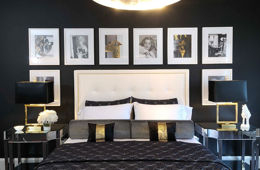 Black bedroom with lovely golden accents [Design: Atmosphere Interior Design]
