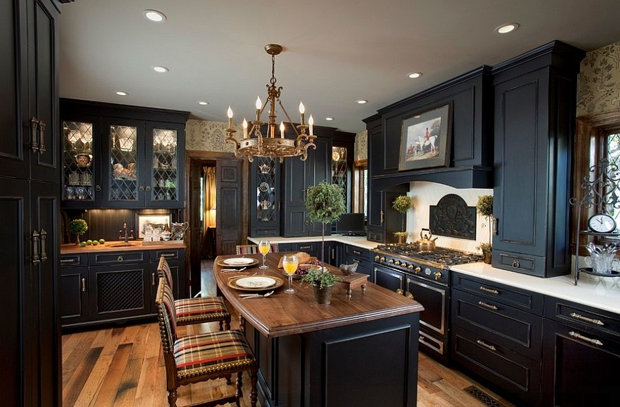 Black brings modern refinement to a traditional kitchen [Design: Kitchen Designs by Ken Kelly]
