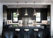Black marble island adds a touch of luxury to the kitchen 217x155 Hot Kitchen Design Trends Set to Sizzle in 2015
