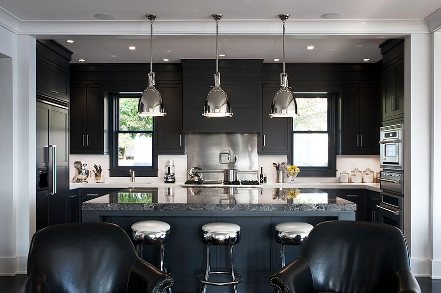 Black marble island adds a touch of luxury to the kitchen [Design: LDa Architecture & Interiors]