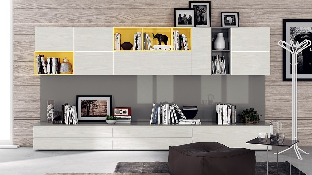 12 dynamic living room compositions with versatile wall unit systems