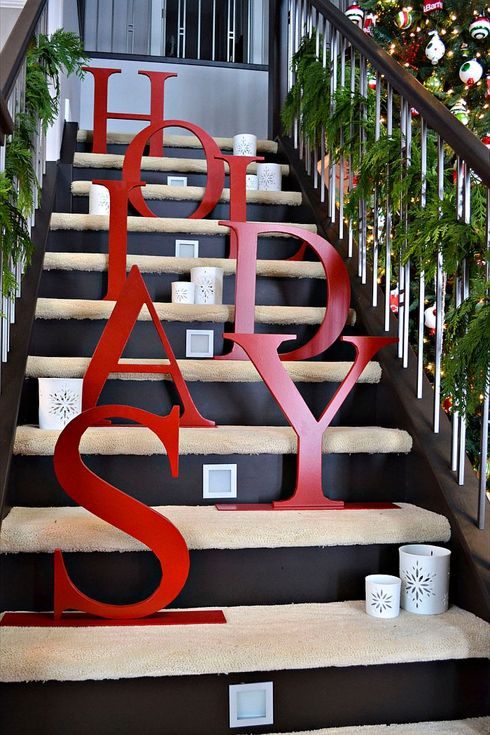 Bold Holiday Script in red steals the show on this staircase 23 Gorgeous Christmas Staircase Decorating Ideas