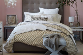 Bone Tufted Headboard in Pink Room