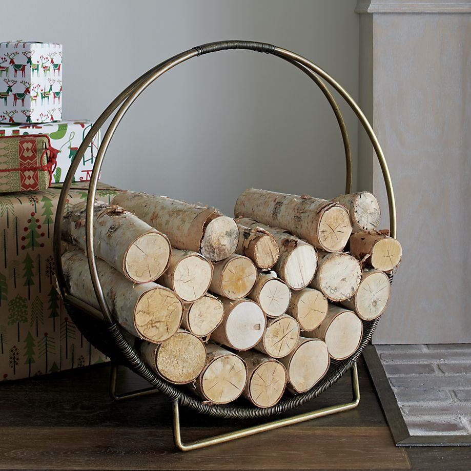 Brass log holder from Crate & Barrel