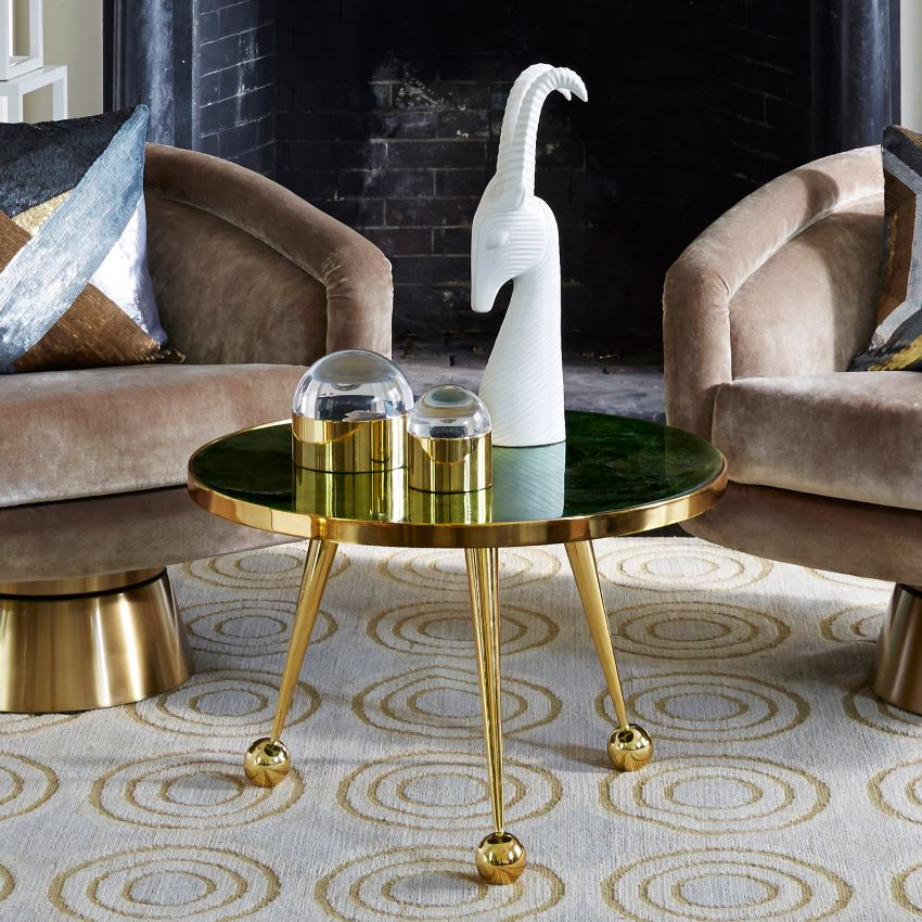 Brass plated side table from Jonathan Adler Modern Decor Finds That Celebrate the Years Top Trends