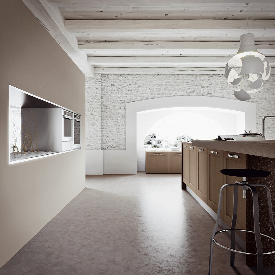 Brick walls bring in some rustic charm to the space