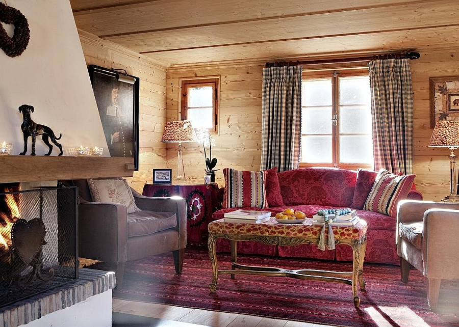 Bright pops of color enliven the interior of the gorgeous chalet