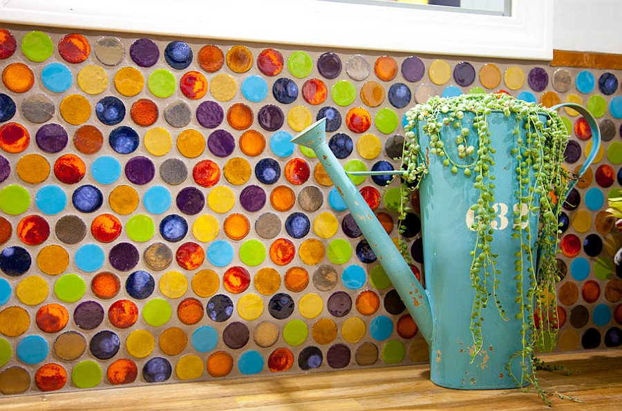 Brilliant, sustainable kitchen backsplash using penny tiles [Design: Mercury Mosaics and Tile]