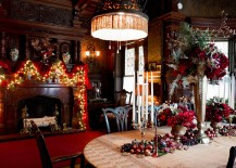 Brilliant use of string lights for the fireplace mantel in the dining room