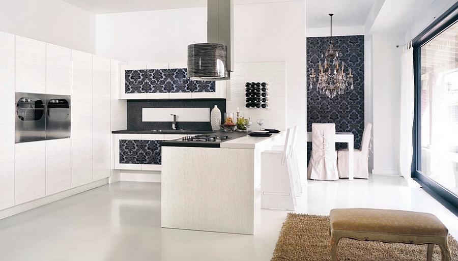 Brilliant use of wallpaper in the contemporary kitchen [Design: Imagine Living]