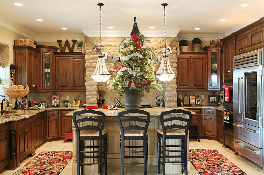 view in gallery bring the christmas tree into the kitchen from julie ranee photography - How To Decorate Your Kitchen Island For Christmas