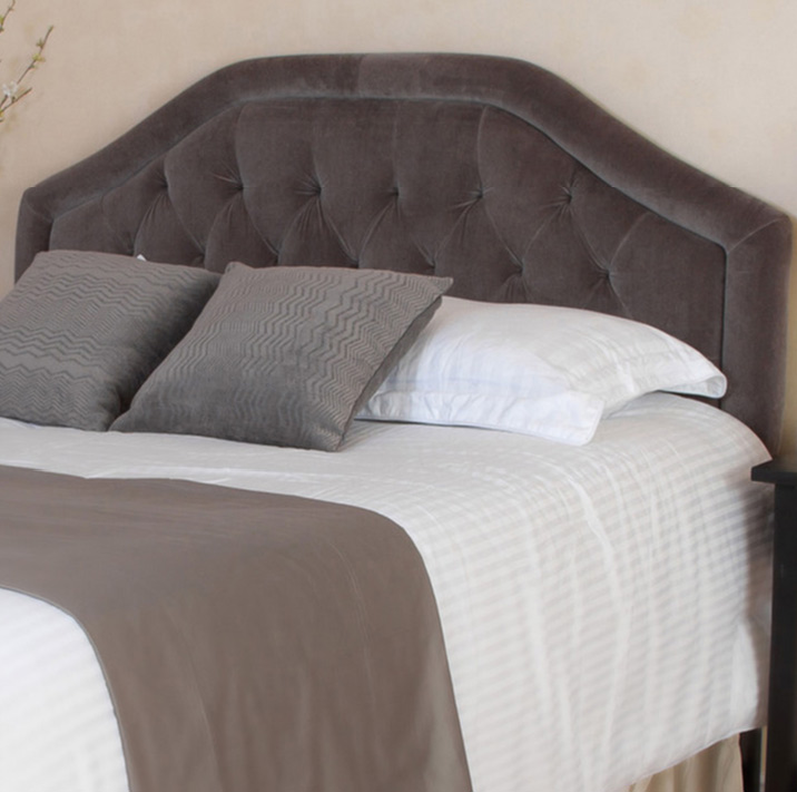 Brown Velvet Tufted Headboard