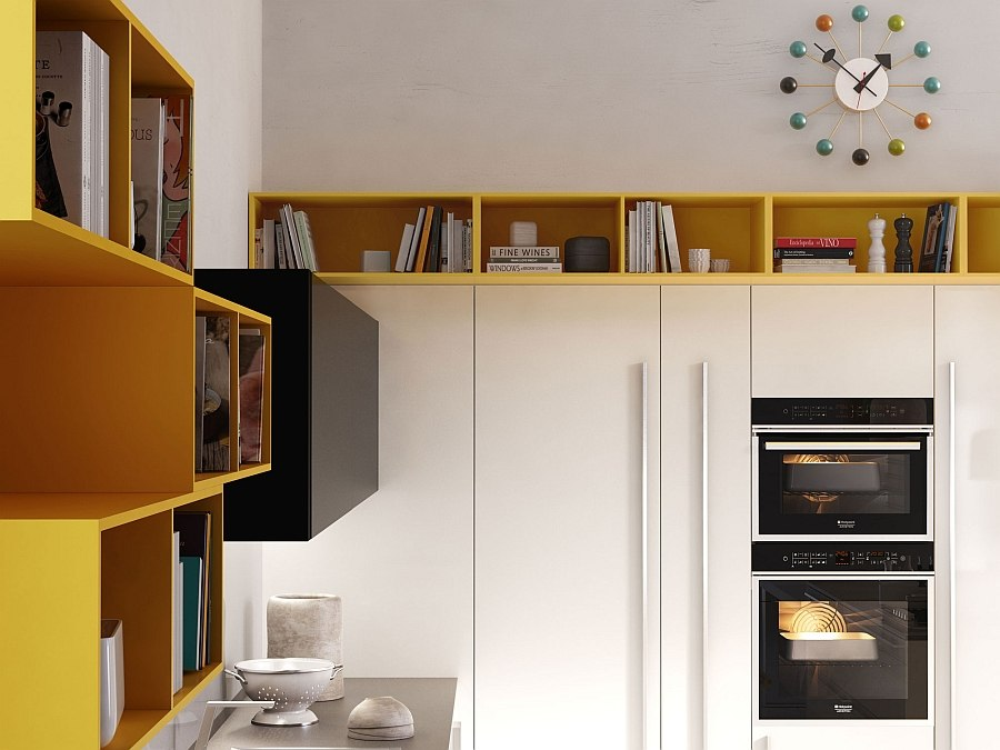 Cabinets add a splash of refreshing yellow to the trendy kitchen