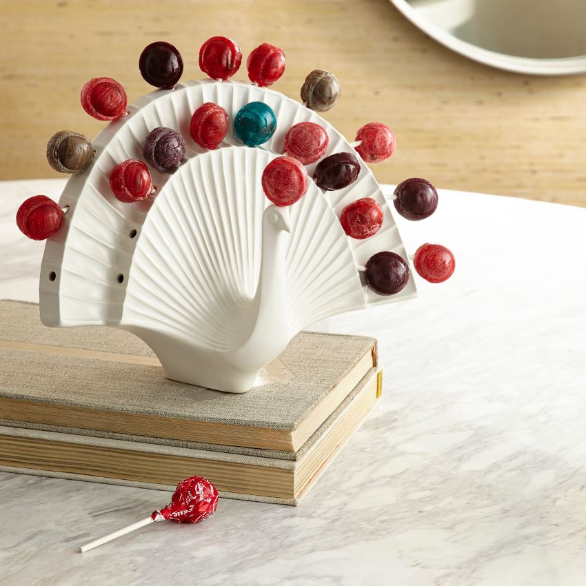 Ceramic Peacock Lollipop Holder from Jonathan Adler