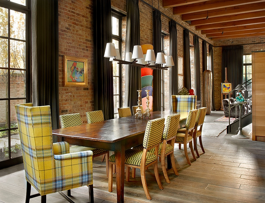 View In Gallery Chairs Add A Touch Of Yellow To The Industrial Dining Room  [Design: Wells U0026