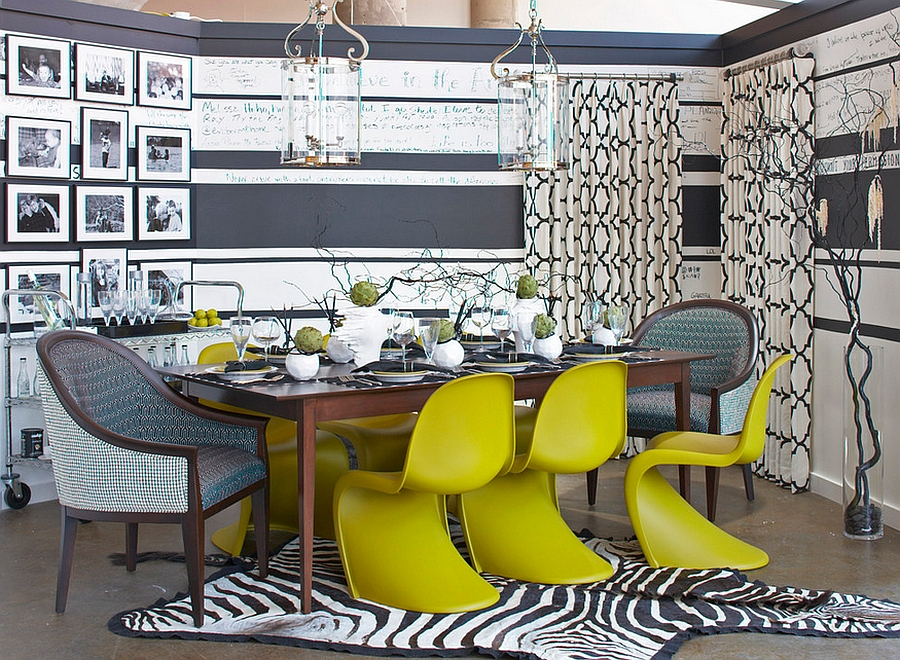 Chairs along with simple accents bring bold lime green to this dining space