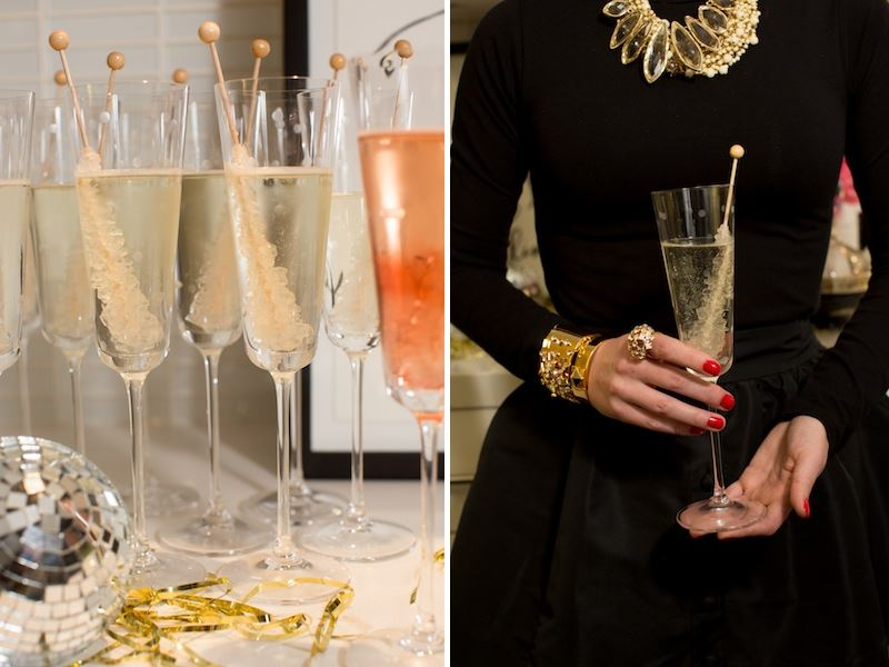 Champagne and rock candy stirrers Plan a Festive, Hassle Free New Years Eve Party