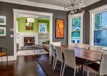Charcoal gray lends sophistication to the room