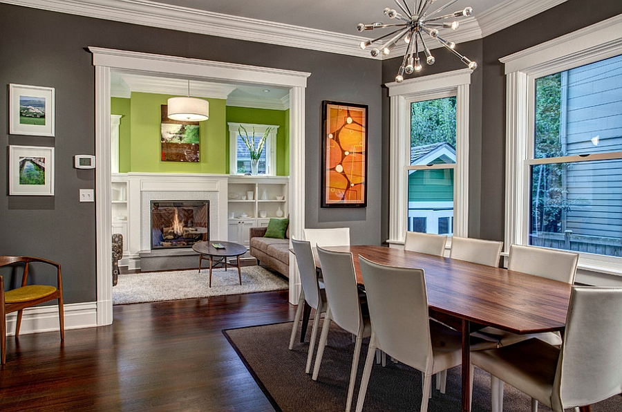 Charcoal gray lends sophistication to the room [Design: Board and Vellum]