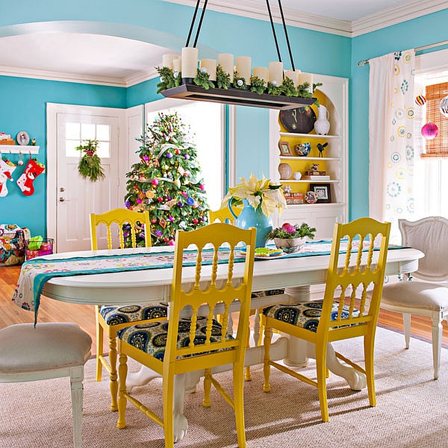 Cheerful eclectic dining room with festive charm [Design: Lowe's Home Improvement]