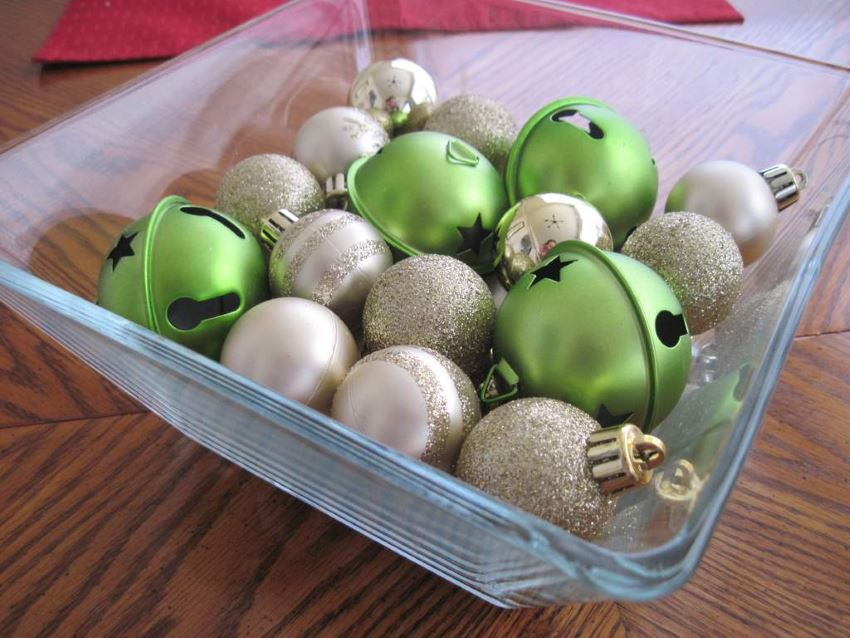 Christmas ornaments in a clear container