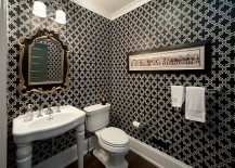 Classic black and white color palette for the powder room