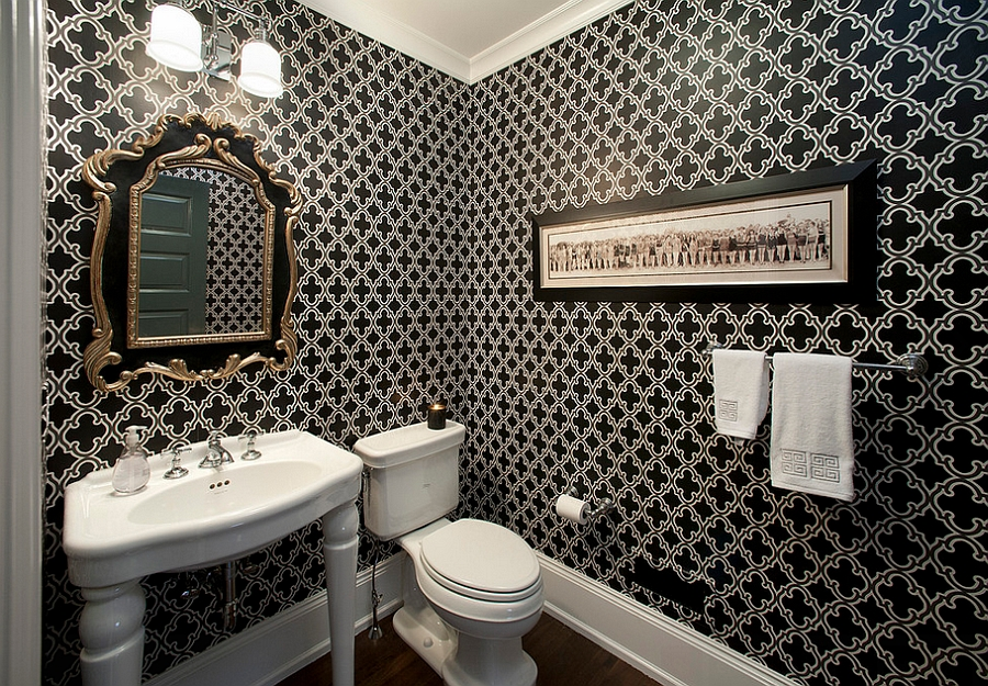 View In Gallery Classic Black And White Color Palette For The Powder Room Design Kallista Plumbing