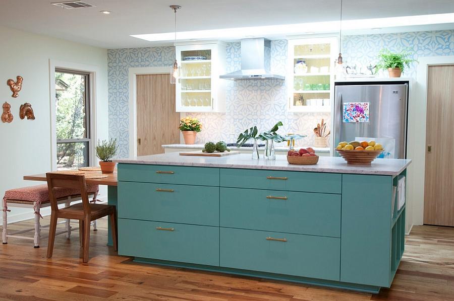 Classy Mediterranean kitchen in blue [Design: Tenney Construction]