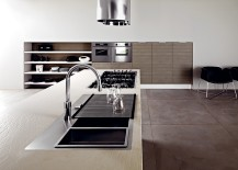 Clay oak cabinets and sleek white surfaces of the Frida kitchen