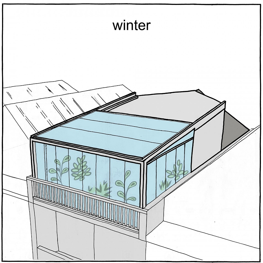 Closed roof terrace configuration in the winter