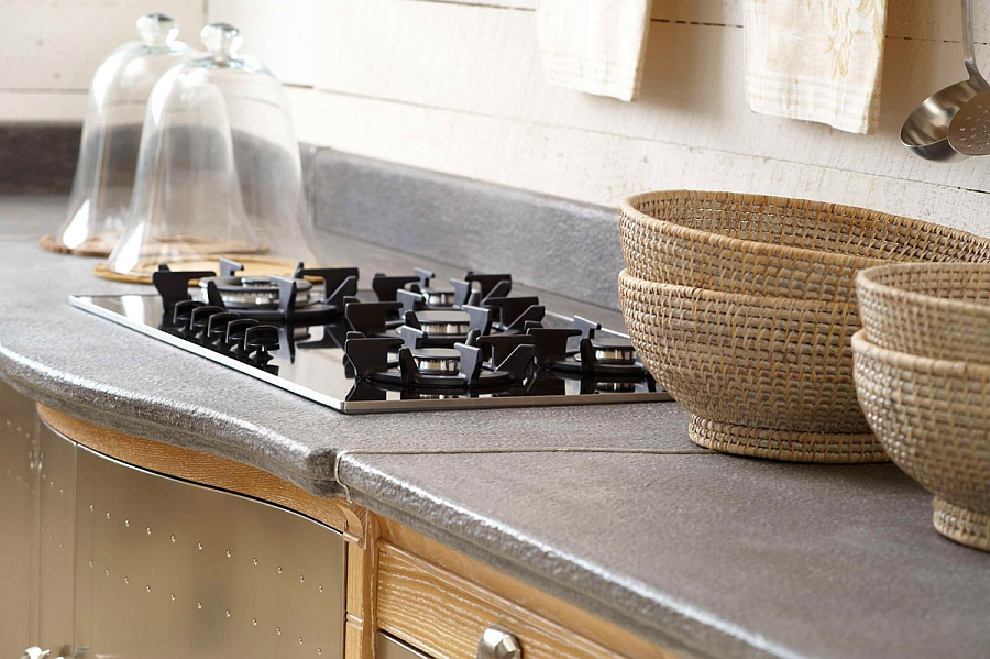 Closer look at the countertops of the beautiful kitchen