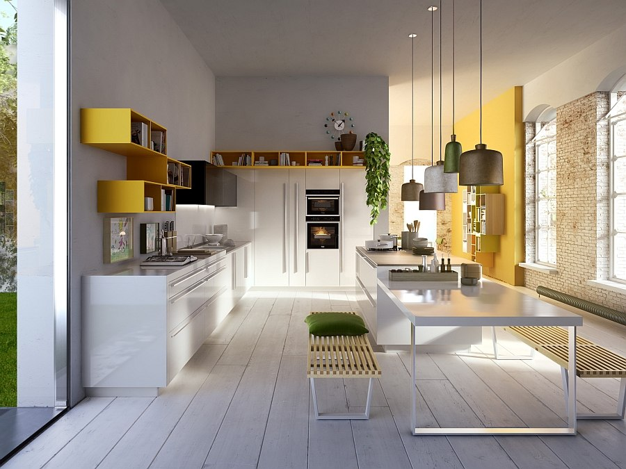 Code with high gloss lacquered doors and yellow lacquered open units Code: Posh Kitchen Blends Trendy Aesthetics with Practicality