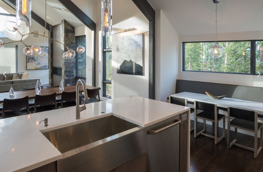Colorado kitchen with a wooded view
