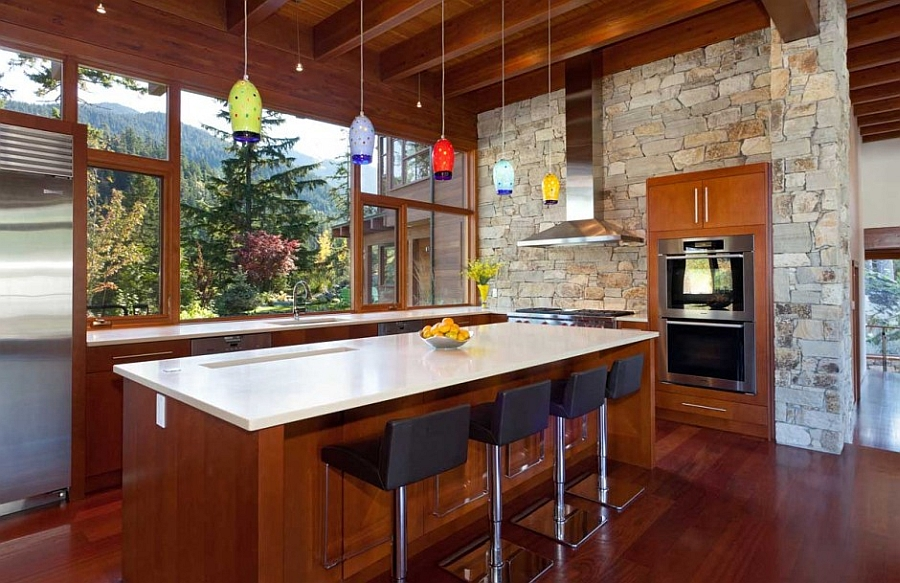 Colorful pendant lights above the kitchen island