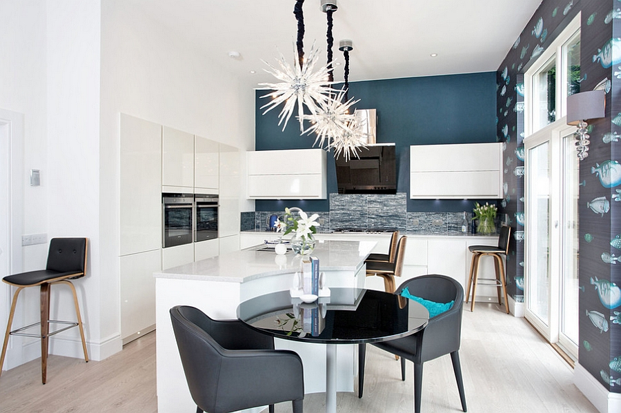 Colorful wallpaper enhances the 'under ocean' theme of the kitchen [Design: Orchid Newton]