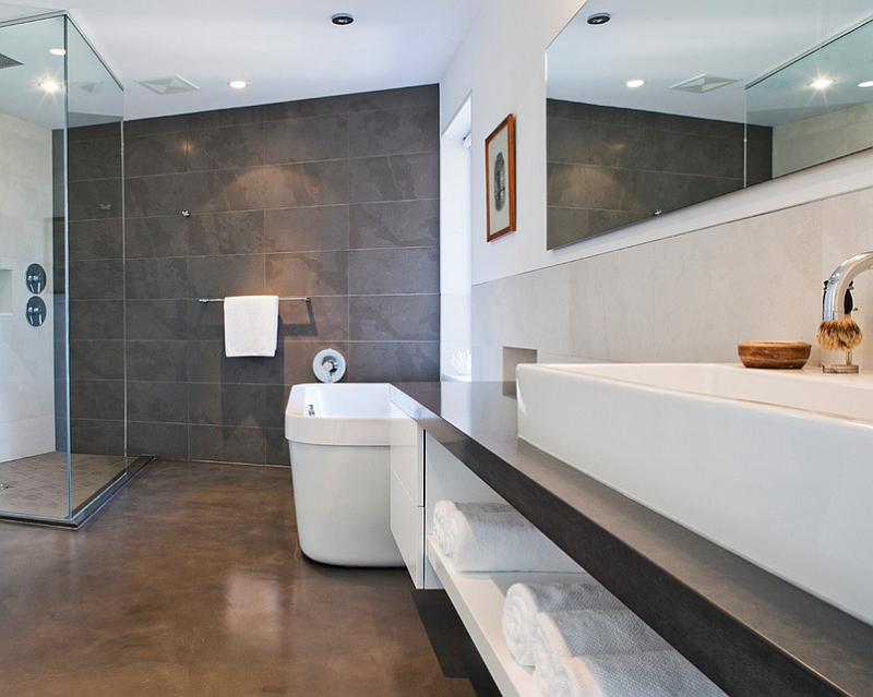 Contemporary bathroom with heated floors [Design: KBCD Developments]