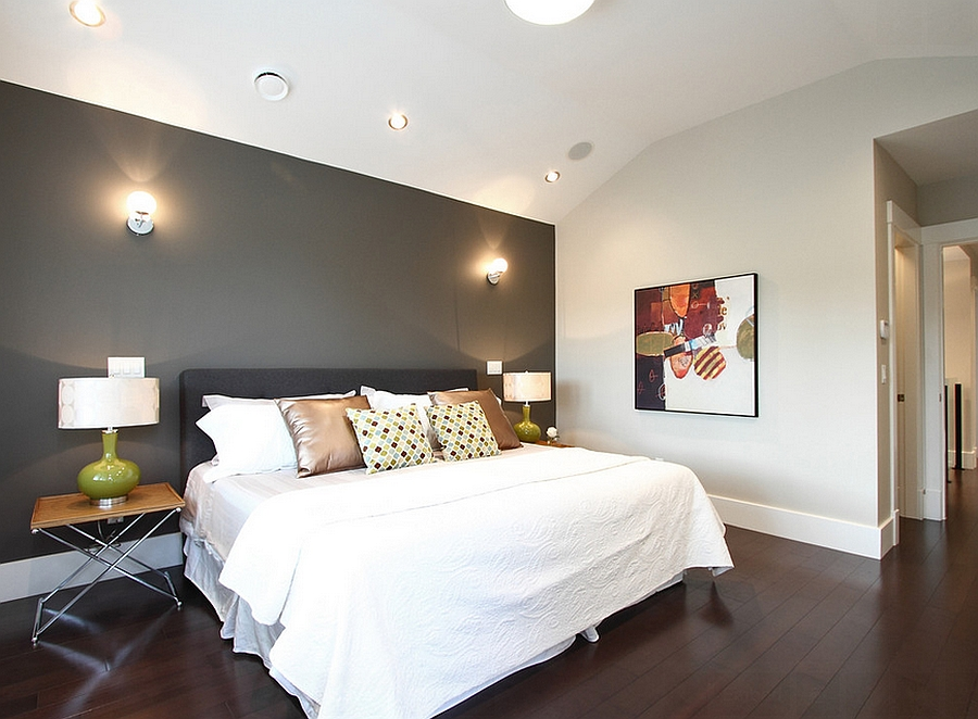 Cool bedroom accent wall in gray [Design: Space Harmony]