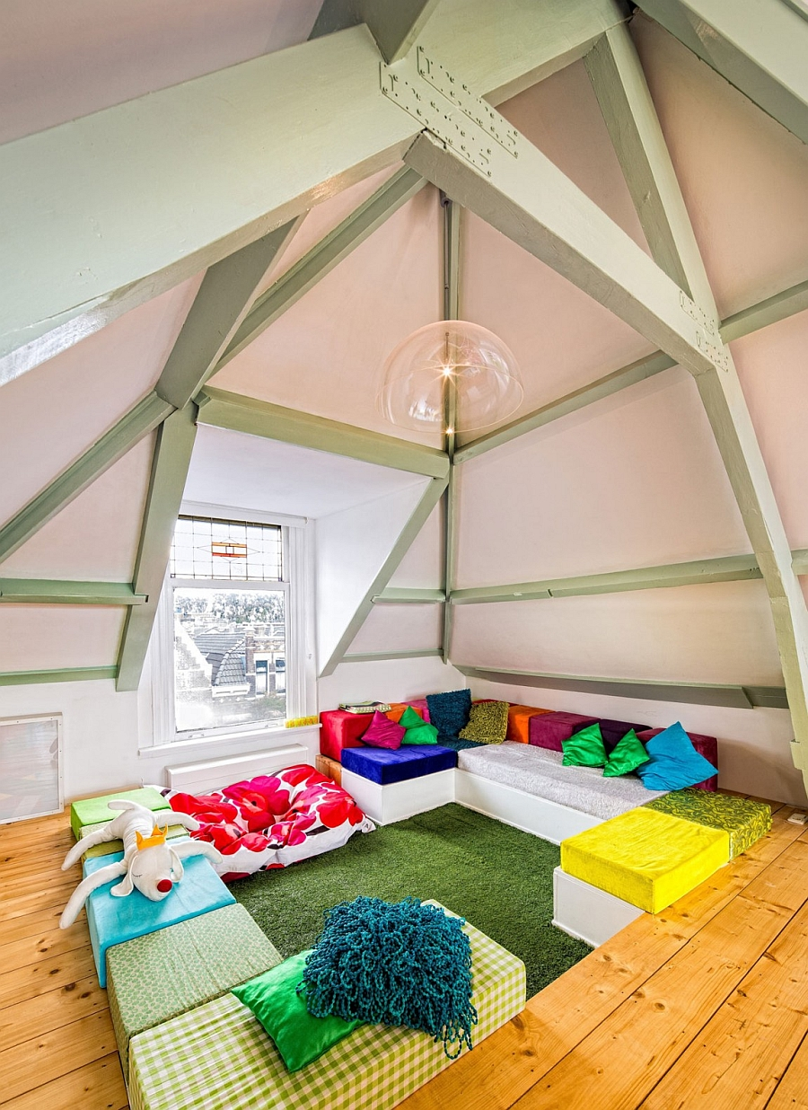 Cool kids room with vaulted ceiling