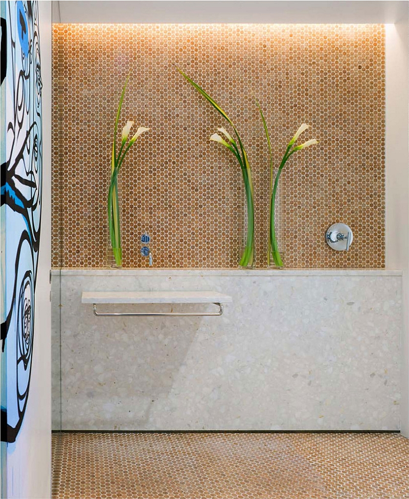 Cork Mosaic penny tile for the stylish bathroom [Design: The Habitus Collection]