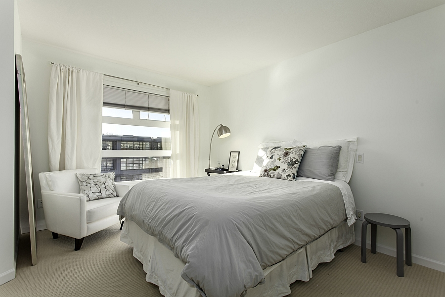 Cozy bedroom in an all-white color palette